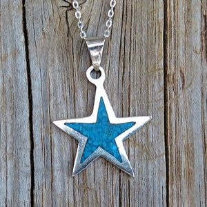 Vintage TAXCO 925 Turquoise Star Pendant Necklace